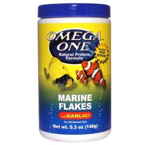OmegaOne Garlic Marine Flakes 5.3 oz /Хлопья для морских рыб с чесноком, 148 гр.